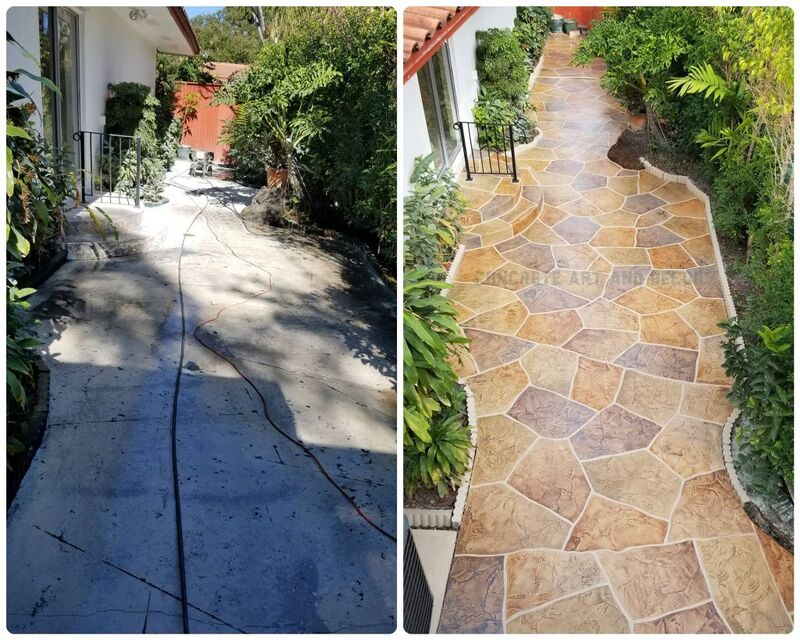 before and after image of stamped concrete walkway