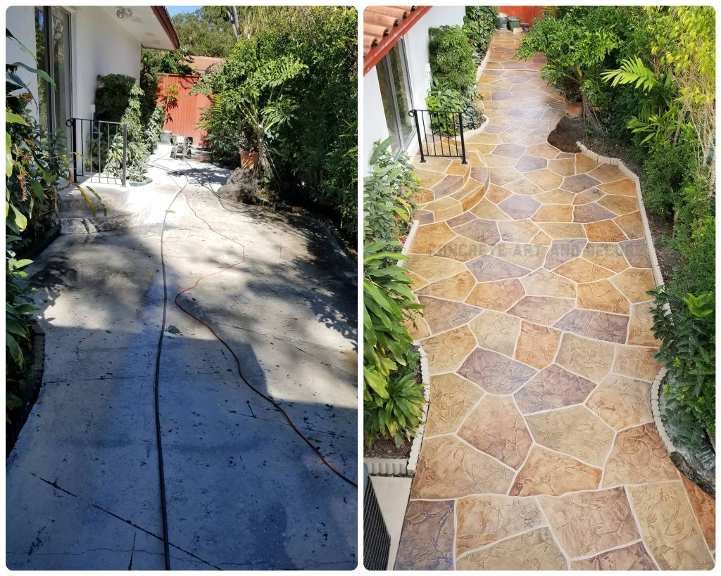 image of concrete before and after the decorative concrete process.