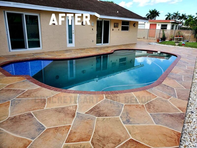 pool deck resurfaced in large stone pattern concrete overlay