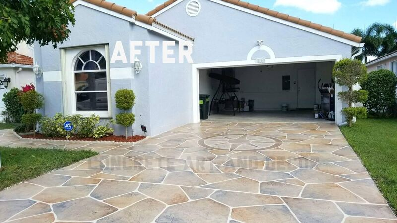 garage driveway resurfaced with decorative concrete