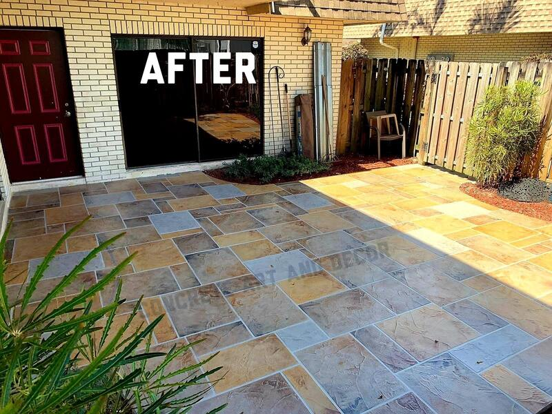 modern geometric concrete overlay on patio