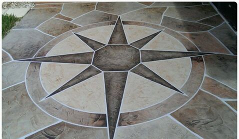 decorative concrete pattern of a compass