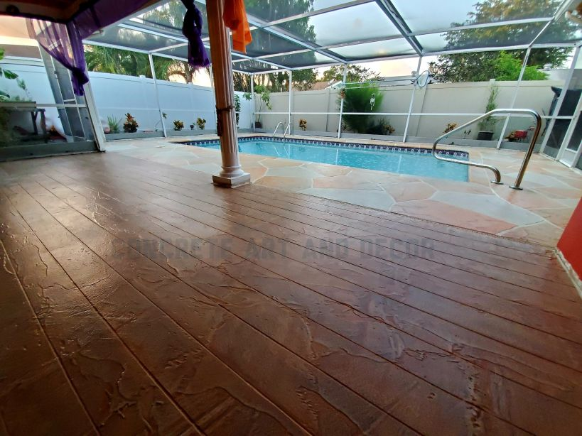 wood stamped concrete design on patio