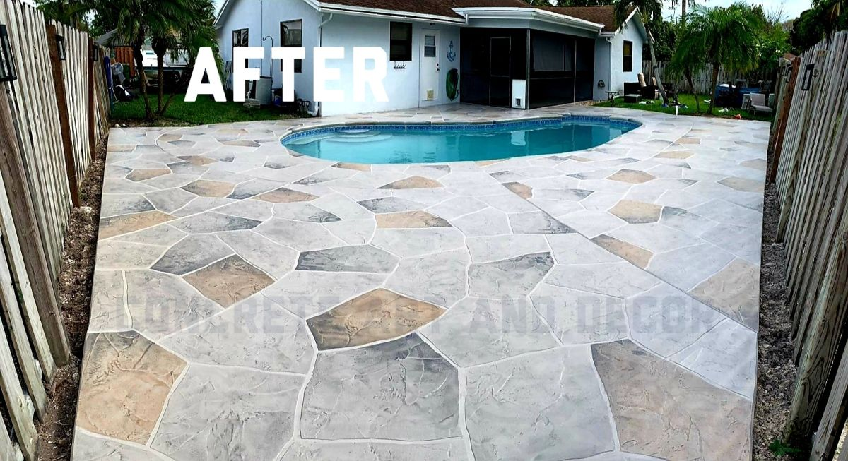 stamped concrete design ideas using mult-color stone overlays