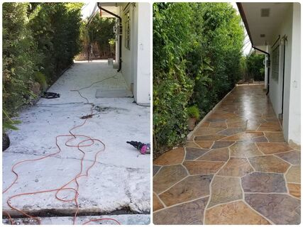 before and after image stamped concrete walkway