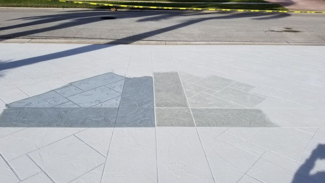 stamped concrete color options for customer driveway