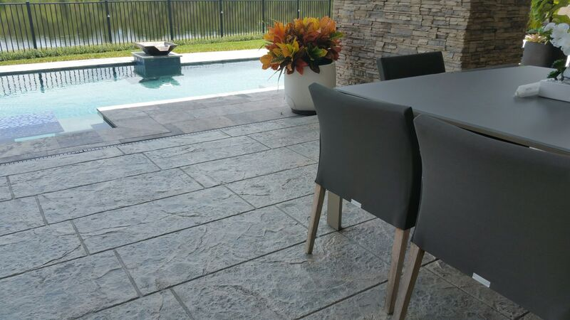 modern concrete floor design on patio